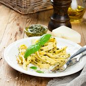 image of pesto sauce  - Pasta tagliatelle with green pesto sauce - JPG