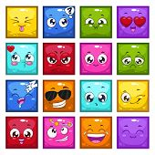 stock photo of emoticons  - Set of colorful cartoon square characters with different emotions isolated vector emoticons funny avatars - JPG