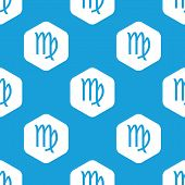 stock photo of virgo  - Blue image of virgo zodiac symbol in white hexagon - JPG