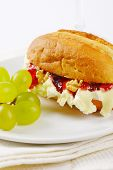 image of brie cheese  - small baguette with brie cheese - JPG