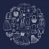 stock photo of outerwear  - Vector set of different women clothes and accessories from underwear to outerwear - JPG