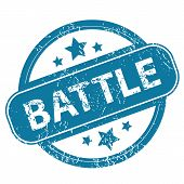 stock photo of battle  - Round rubber stamp with word BATTLE and stars - JPG