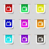 stock photo of tv sets  - Retro TV icon sign - JPG