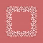 stock photo of doilies  - Ornamental red lace pattern doily square border - JPG