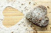 pic of chocolate fudge  - Chocolate heart cookies in powdered sugar and chocolate crumbs - JPG