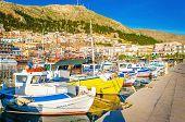 stock photo of piraeus  - Colorful boats in Pohtia port on Kalymnos island - JPG