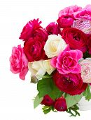 pic of bunch roses  - bunch of pink  ranunculus and rose flowers in pot close up isolated on white background - JPG