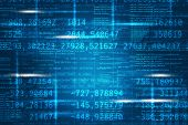 stock photo of formulas  - Abstract matrix blue background with numbers and formula - JPG