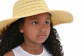 Beautiful Six Year Old Girl In Yellow  Hat Over White poster