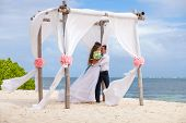 picture of wedding arch  - young loving couple on their wedding day beautiful wedding arch on beach outdoor beach wedding in tropics