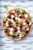 foto of pepper  - Pizza with ham - JPG