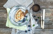 image of crepes  - Thin pancake or crepe with fresh blueberry - JPG