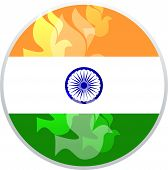 foto of indian independence day  - illustration of wavy Indian flags with monument - JPG