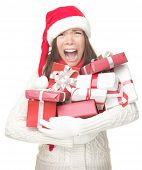 stock photo of adversity humor  - Christmas holidays shopping woman stress - JPG