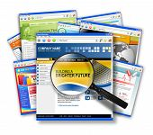 picture of web surfing  - A stack of internet websites with a search magnifying glass on top - JPG
