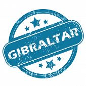 picture of gibraltar  - Round rubber stamp with word GIBRALTAR and stars - JPG