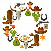 stock photo of wild west  - Wild west background with cowboy objects and design elements - JPG