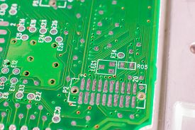 picture of transistors  - micro electronics main board with processors diodes transistors - JPG