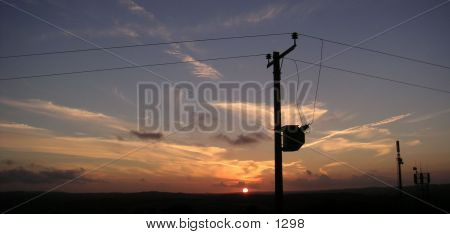 Sunset With Phone Wire poster