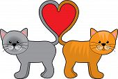 foto of valentines day card  - a pair of cats with their tails shaped in a heart - JPG