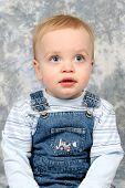 Little Cute Boy Closeup poster