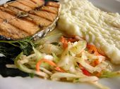 lox with potato puree and sauerkraut