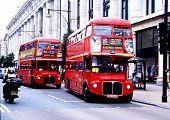 Two red Routemaster London buses