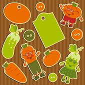 foto of farmers market vegetables  - Childrens stickers for scrapbook with amusing vegetables - JPG