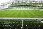 DUBLIN - JUNE 10: Rows of green seats in an empty stadium Aviva June 10, 2010 in Dublin. Stadium Avi