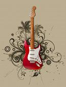 stock photo of stratocaster  - Rock guitar on grunge floral background - JPG