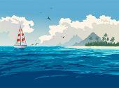 Tropical paradise. Turquoise ocean, tropical island, palm trees, white sand beach, yacht, seagulls,