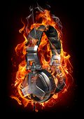 Headphones in fire. My own design made for the image. Logo is a fake.