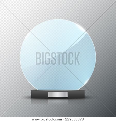 Glass Trophy Award Isolated  Vector Blank Award On Bright Background   Crystal Glossy Design Winner  poster