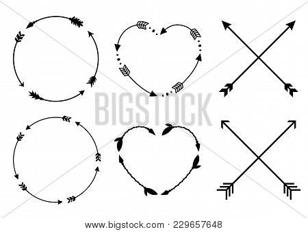 poster of Circle And Heart Arrow Frames. Circle And Heart Monograms. Criss Cross Hipster Arrows. Arrows In Boh