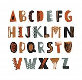 Trendy Latin Font Or Decorative English Alphabet Hand Drawn On White Background. Creative Textured L poster