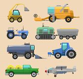 Agricultural Vehicles Harvester Vector Tractor Machine, Combines And Excavators. Icon Set Agricultur poster