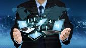 Internet And Information Technology Conceptual Images. Businessman Showing Internet Network Between  poster