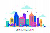 City Landscape. Silhouettes Of Buildings With Neon Glow And Vivid Colors. City Landscape Template. F poster