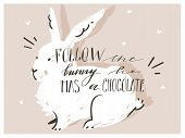 Hand Drawn Vector Abstract Scandinavian Collage Happy Easter Bunny Silhouette Illustrations Greeting poster
