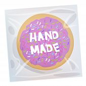 Hand Made Frosted Sugar Italian Freshly Baked Cookie In Transparent Plastic Package With Violet Fros poster