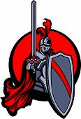 foto of paladin  - Medieval Knight Vector Mascot Holding a Shield and Sword and Wearing Armor - JPG