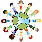 Kinder und Planetenerde