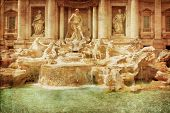 One of the most famous landmarks - Trevi Fountain (Fontana di Trevi). Rome, Italy. poster