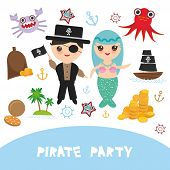Pirate Party Card Banner Design. Mermaid With Pirate, Boat With Sail, Gold Coins Crab Octopus Starfi poster
