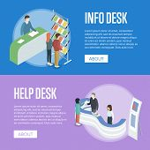 Information And Help Desk Isometric Horizontal Flyers. Company Exhibition Ad Stand, Product Or Servi poster