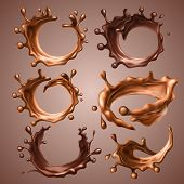 Set Of Realistic Splashes And Drops Of Melted Milk And Dark Chocolate. Dynamic Circle Splashes Of Wh poster
