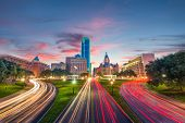 Dallas, Texas, USA skyline over Dealey Plaza at dawn. poster