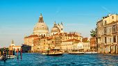 Venice In The Sunlight, Italy. Scenic Panoramic View Of The Grand Canal At Sunset. Beautifiul Panora poster