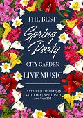 Spring Time Music Festival Invitation Poster Or Card For City Garden Seasonal Holiday Event. Vector  poster
