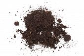 Pile Heap Of Soil Isolated On White Background. poster